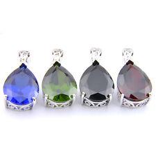 Xmas Jewelry Set Mulit 4 pcs Black Onyx Topaz Peridot Garnet Gem Silver Pendants