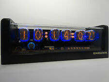 6xIN-12 Nixie Tubes Clock black mat case led & alarm steampunk retro watch