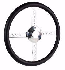1956-62 Chevrolet Corvette C1 Black Vinyl Half Wrap Flat Steering Wheel w/ Boss
