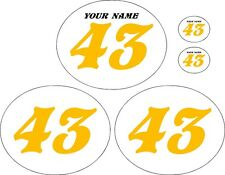 Vintage MX Oval Pre-Printed White Backgrounds with Yellow Numbers  - Slant