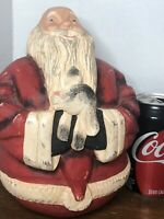 Heavy Large Hand Carved Wooden Vintage Christmas Santa Claus Figure Holding Goat