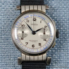 AUREOLE 1940s LANDERON 48 PULSATIONS DIAL SWIVEL LUGS MANUAL WINDING CHRONOGRAPH