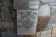 PURE LUXURY LINEN DAMASK EMBROIDERED LINED WINDOW VALANCE 20x50 - NATURAL/PEWTER