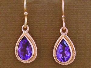 E089 VINTAGE style Genuine 9K 9ct Solid Rose Gold NATURAL Amethyst Drop Earrings
