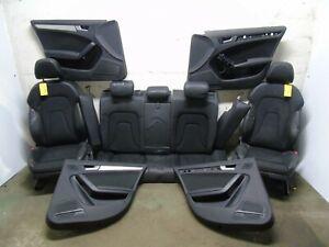 AUDI A4 B8 ESTATE 2008-2012 COMPLETE BLACK HALF LEATHER INTERIOR SEATS DOOR CARD