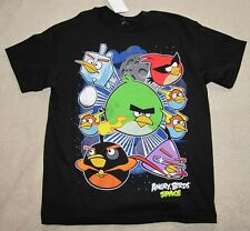 ANGRY BIRDS Space *Whole Group* Blk S/S Tee T-Shirt Boys sz 7/8