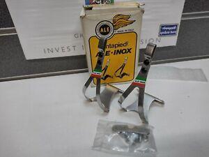 NOS Vintage Original Ale-Inox Italian Toe Clips in Box Small