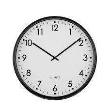 Premier Housewares Modern Home Wall Clock, Round Black Metal, Large Numbers
