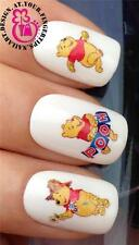 NAIL ART WATER TRANSFERS DECALS STICKERS DECORATION WINNIE THE POOH GLITTER #504
