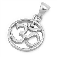 Om Sign Pendant Sterling Silver 925 Ohm Hindu Aum Yoga Symbol Jewelry Gift