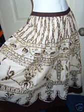 NEW LADIES CLASSICS BROWN/CREAM SEQUIN GYPSY SKIRT SIZE 14