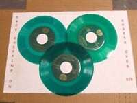 "LOT: 3 GREEN COLORED 7"" 45 RPM VINYL RECORD CRAFTS DECORATIONS REPURPOSING WAX"
