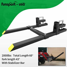 60 Clamp On Pallet Forks 2000lbs With Bar For Loader Bucket Skidsteer Tractor