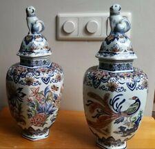 2 porcelain Polychrome Faience Urns Ginger Jars Foo Dog Vieux Rhodes by Boch