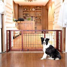 Adjustable Wood Dog Gate Pet Fence Solid Free Standing Indoor Safe Playpen