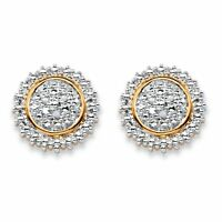 Diamond Accent Two-Tone 18k Gold-Plated Stud Earrings