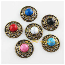 12 New Flower Mixed Charms Connectors Turquoise Antiqued Bronze Pendant 18mm