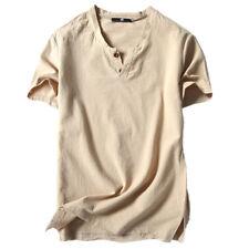 Hombre Casual Camiseta Manga Corta Lino y Algodón Verano Ropa Suéter Blusa