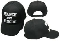 Search And Rescue Black With White Letters Embroidered Cap Hat (EE)