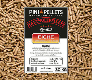 Hartholz Pellets 6 mm PINI 30Kg zum Heizen Grillen Räuchern Smoken