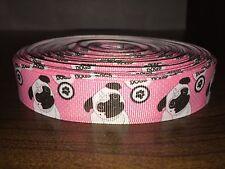 1m Pug Dog Puppy Pink 22mm Grosgrain Ribbon, Cake, Craft