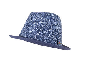 Wigens NWT Trilby Hat in Navy w/ Blue & White Paisley Size M, 58, 7 & 1/4th