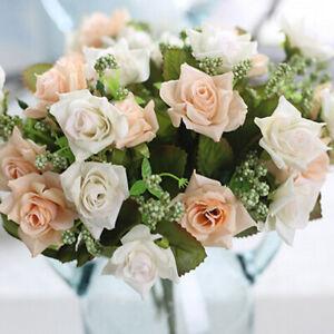 Artificial Rose Silk Flower Bouquet Bridal Hydrangea Wedding Home Garden Decor