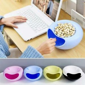 Home Lazy Tools Double Layer Snack Dry Fruit Plate Bowl Dish with Phone Holder