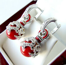 SALE ! BEAUTIFUL MADE OF STERLING SILVER 925  EARRINGS with GENUINE CORAL ENAMEL