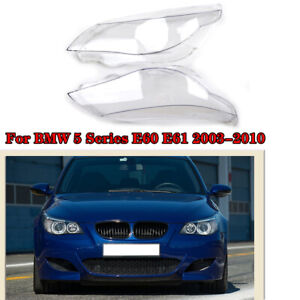 Left+Right Headlight Headlamps Lens Cover Replacement for BMW E60 E61 5-Series