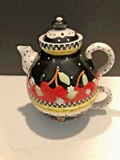 """2001 Mary Englebreit """"Teapot"""" Very Cherry Ceramic Teapot Lid And Cup Usa 6� x 7�"""