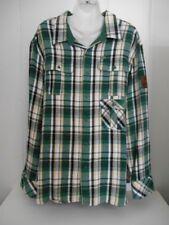 Rocawear~Sz 3XL~Heavy Cotton Button Down Plaid Flannel Shirt/Jacket+Leather Flag