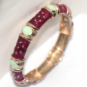 Womens Red & Opal Gold Bangle Bracelet Wristband Jewelry Cuff Open Bracelets