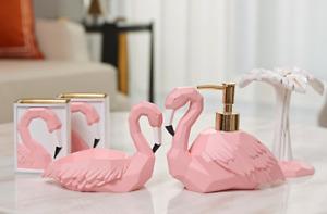 5pcs 3D Pink Flamingos Creative Bathroom Accessory Set Resin Soap Dish Dispenser