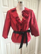 Victor Costa Rich RED JACKET Blouse Ruffled Collar 3 Button Ribbon Belt 10 Mint!