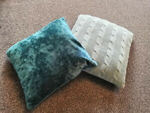 """Pair of Crushed Velvet & Knitted Teal Cushions - 16"""" x 16"""""""