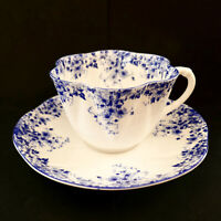 Shelley Dainty Blue Cup Saucer 051/28 Floral England Vintage