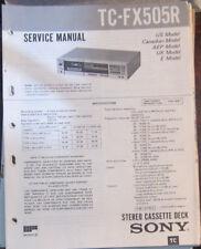 Sony TC-FX505R cassette deck service repair workshop manual (original copy)