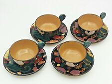 set 4 tazze da te' e piattini ceramica vintage marchiata SAICA stile Albisola