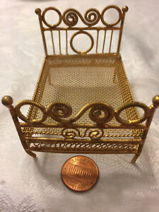 ANTIQUE Dollhouse miniature GILDED METAL BED