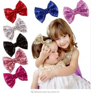 """4"""", 5"""", 6"""" Big Messy Glitter Sequin Novelty Bow Hair Alligator Clip Clips"""