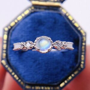 Women Classic Genuine 925 Sterling Silver Moonstone CZ Rings Vintage Size 5 6 7