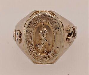 Texas Christian University 10K White Gold Class Ring Size 6.5