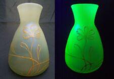 Loetz Arcadia Uranium Glass Vase w. DEK I/107 Gold Enamel Decoration Bohemian