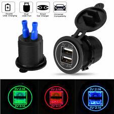 USB Steckdose Auto KFZ Ladegerät Buchse 12V/24V Wasserdicht Dual USB Ports LED