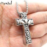 MENDEL Stainless Steel Irish Celtic Trinity Knot Claddagh Cross Pendant Necklace