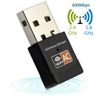 600Mbps 802.11ac USB Wifi Dongle Wi-Fi 5 Dual Band 2.4/5GHz Adapter PC Laptop