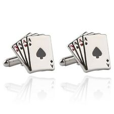 New Silver Plated Pair of Cufflinks Ace of Spades Gambling Suit Wedding Gift Bag