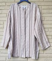Lord&Taylor Womens Plus Linen Tunic Stripe Top Blouse Shirt Long Sleeve Size16