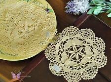 "1Doz/12pc 6"" Round Hand Bobbin Lace Butterfly Cotton Doily Cupmat Ecru 15cm SALE"